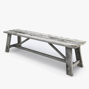 wood bench 3d 3ds