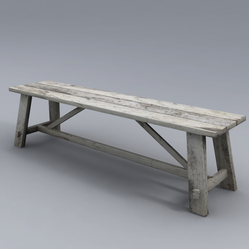 wood bench 3d 3ds