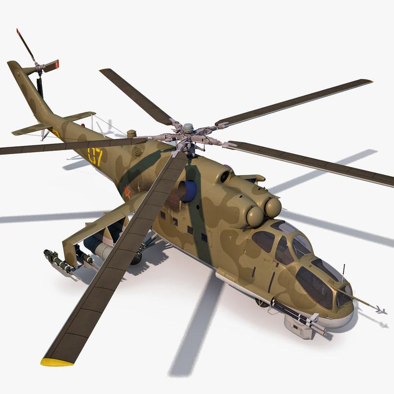 mi 24 helicopter 3d model