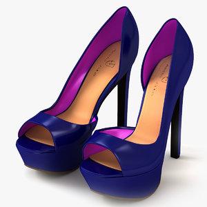 heel toe shoes blue 3d model