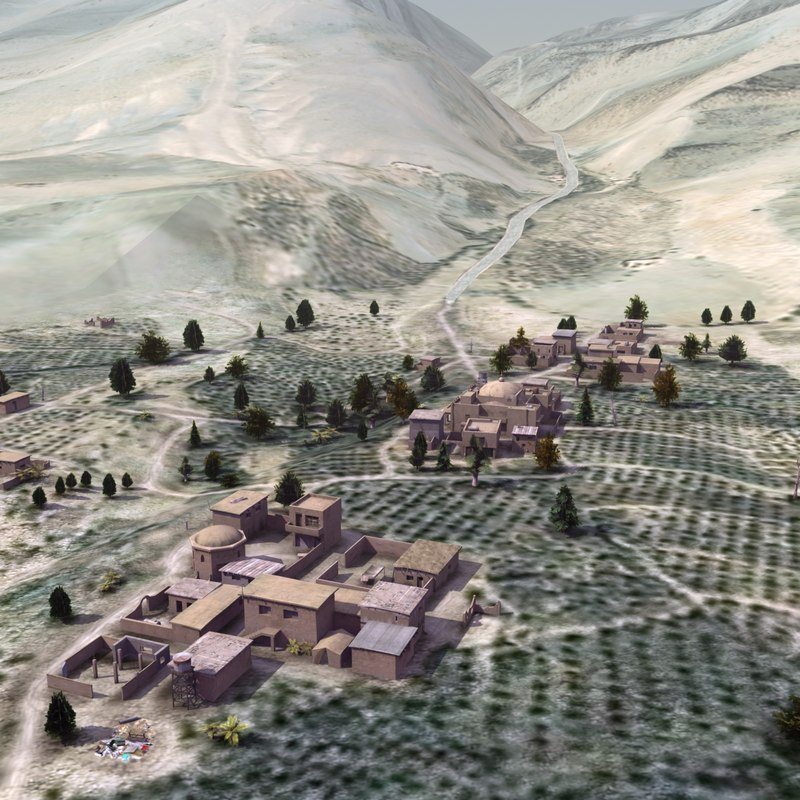 mountain village 3d model