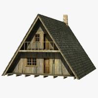 a-frame house 3d obj