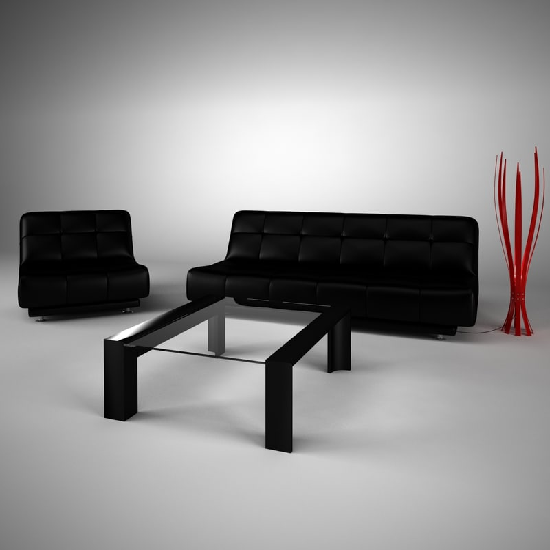 leather sofa set 3d model