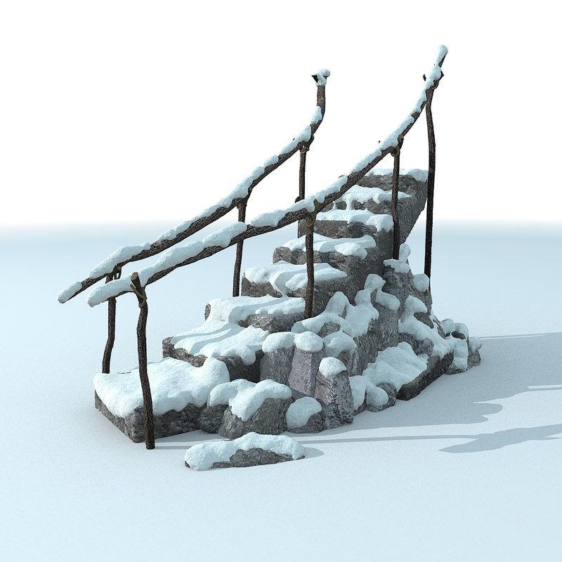 3d model stepladder rock snow