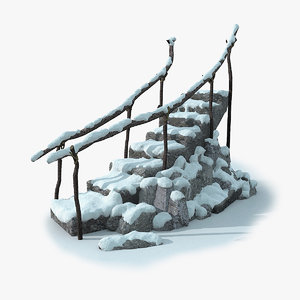 3d model stepladder rock snow