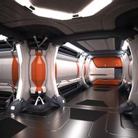 sci fi spaceship corridor 3d max