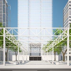 buildings park trees 3d model