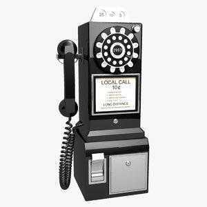 3d model retro payphone
