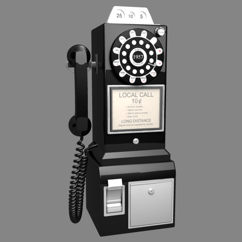3d model retro payphone