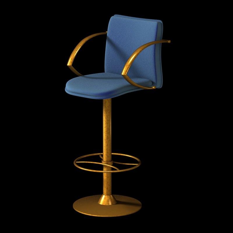 chair bar stool brass 3d model