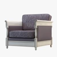 armchair florial wood 3d model