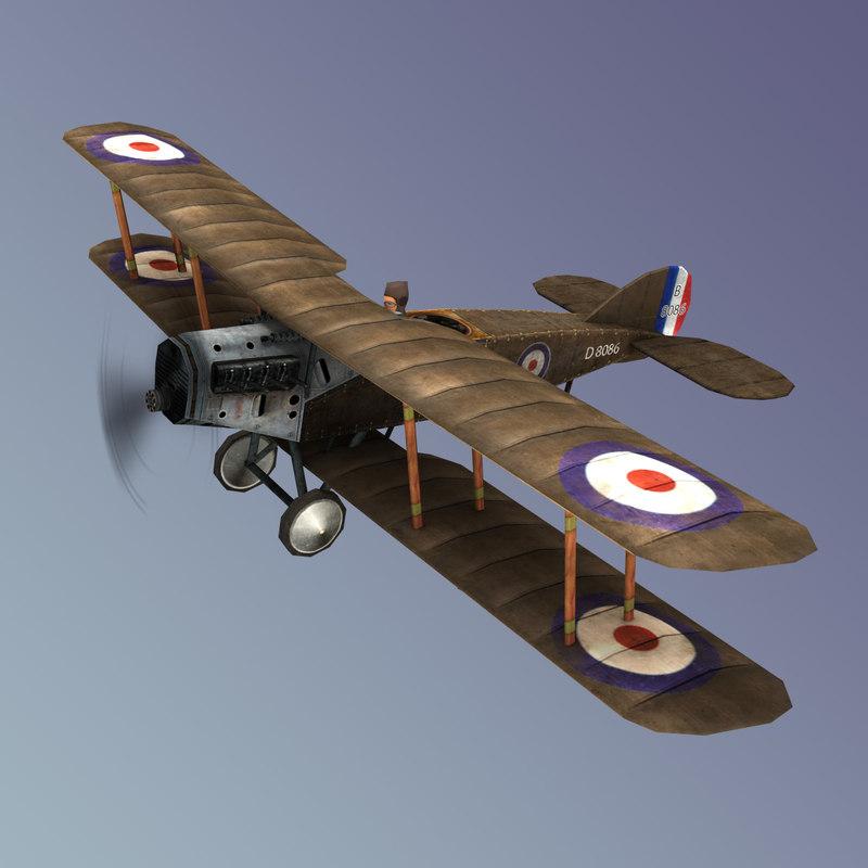 bristol biplane aircraft 3d model
