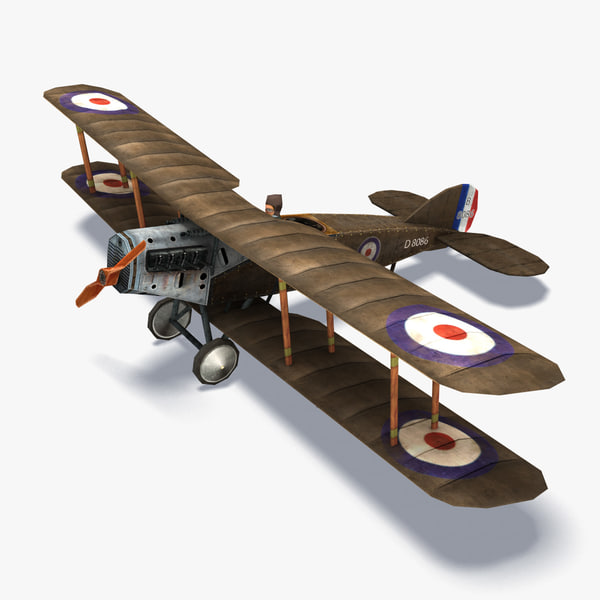 bristol biplane aircraft 3d model