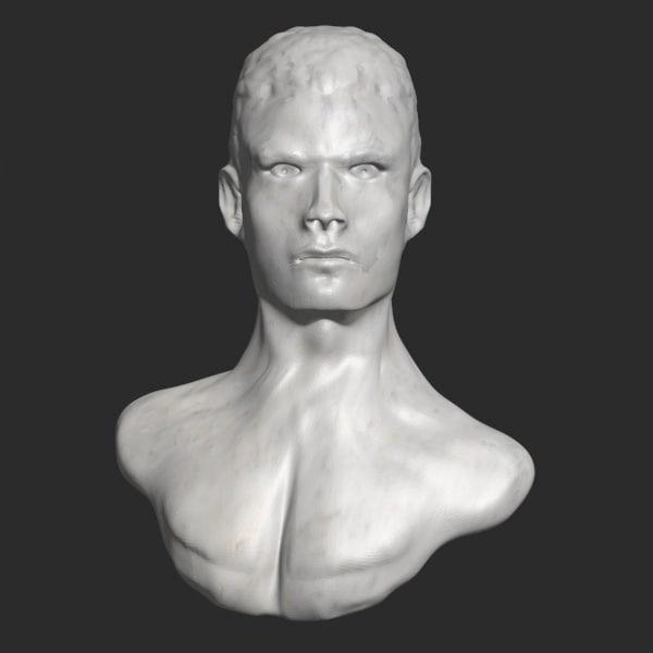 3d model man bust