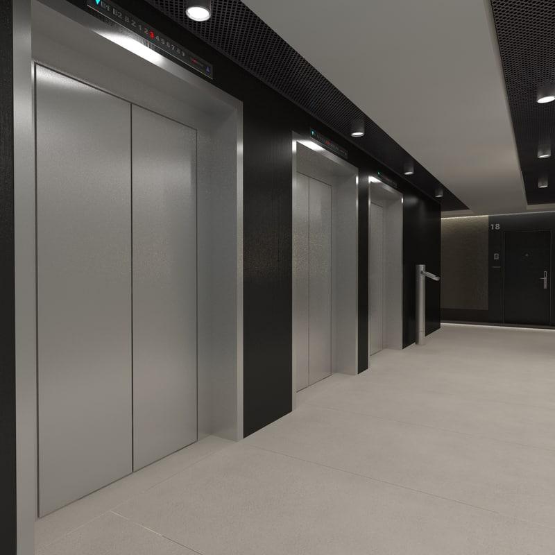 scene modern corridor interior 3d model