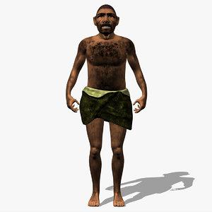 neanderthal man caveman 3d model