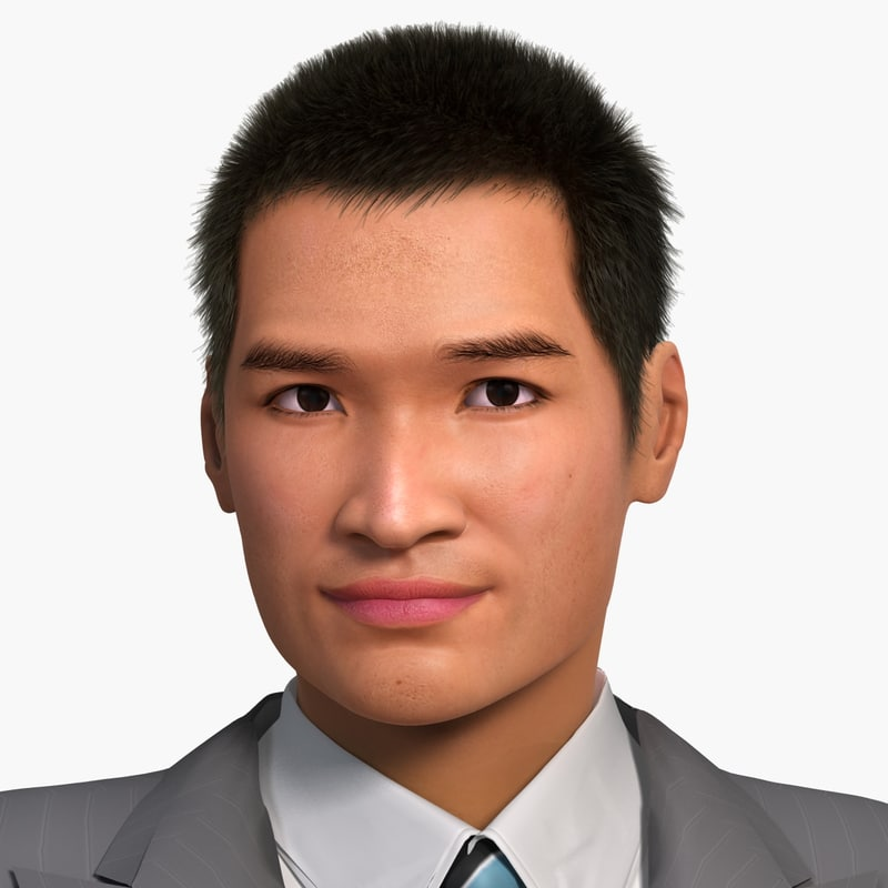3d asian man jin model