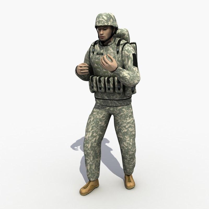 soldier human man 3d model
