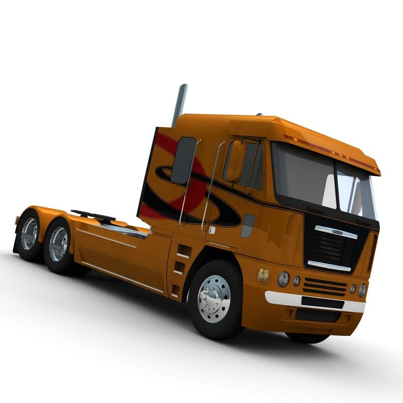 3d model freightliner argosy truck mid-roof