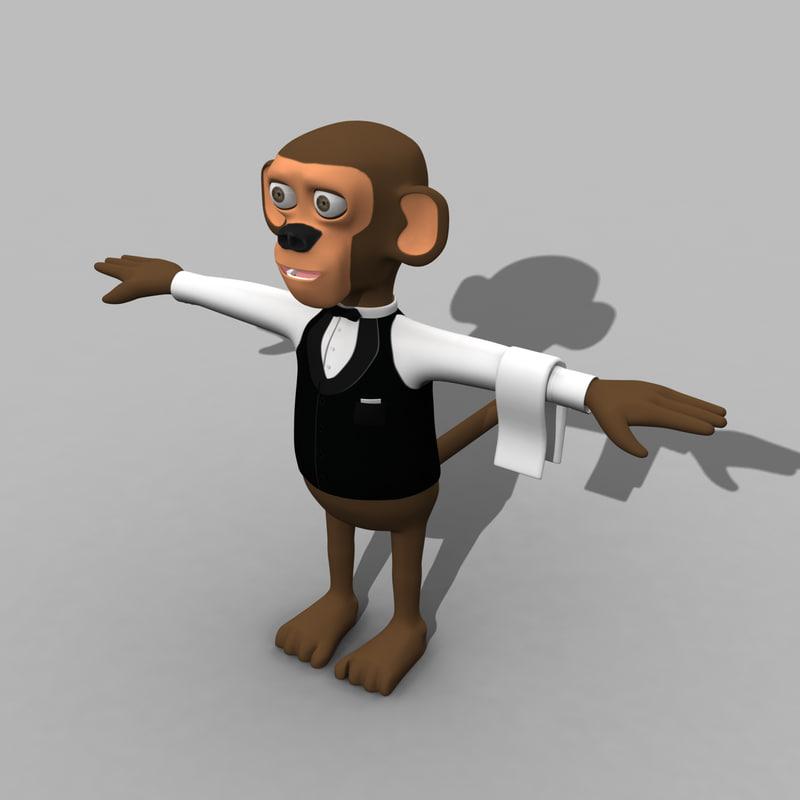maya cartoon waiter monkey
