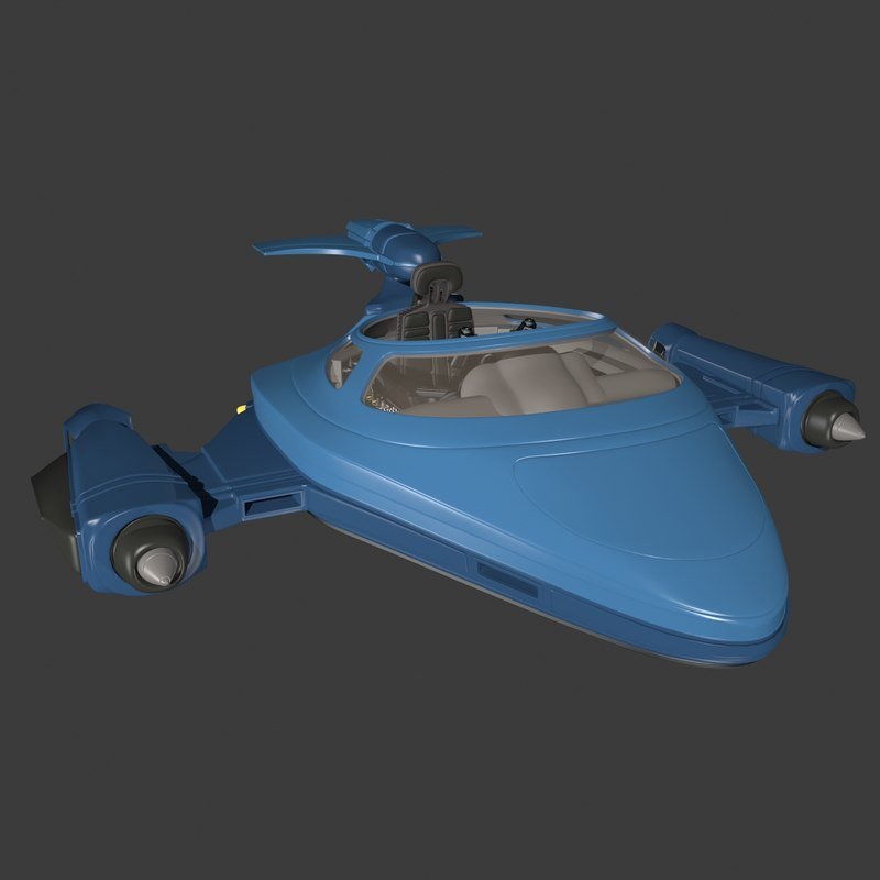 3d model sci-fi glider extended
