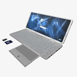 mini laptop concept computer screen 3d obj