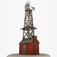 3d farm building windmill wind model