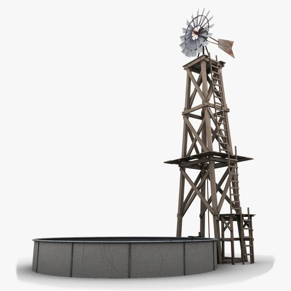 3d model of farm tower windmill
