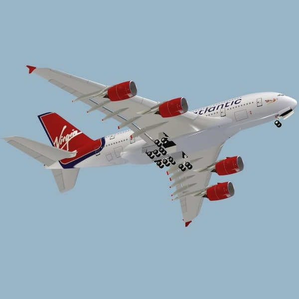 3d model airbus a380-800 virgin atlantic