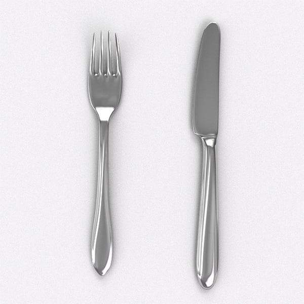elegant knife fork obj