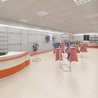 3d model clothes shop interior