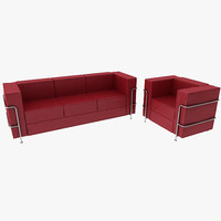 real modern leather sofa 3d model