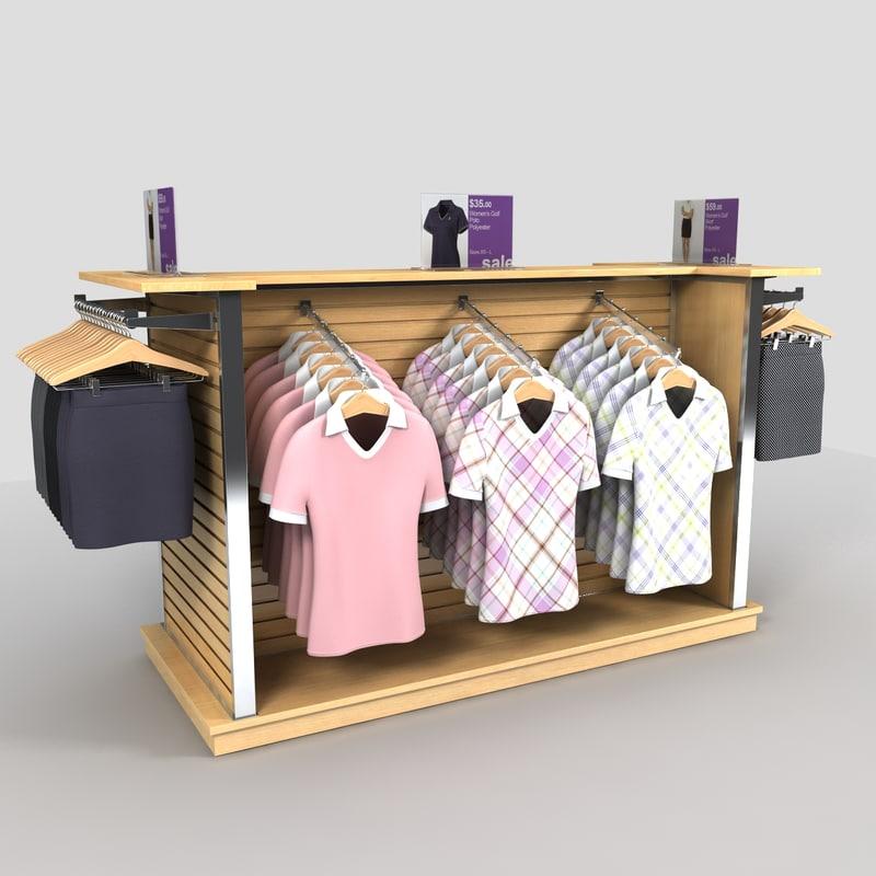 clothing womens golf shirts 3d model