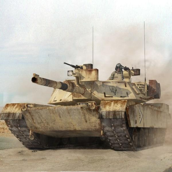 abrams low-poly tank 2 3d max