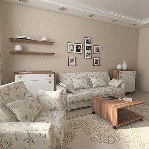 3d interior scene furniture