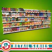 grocery shelves cereal - 3d max