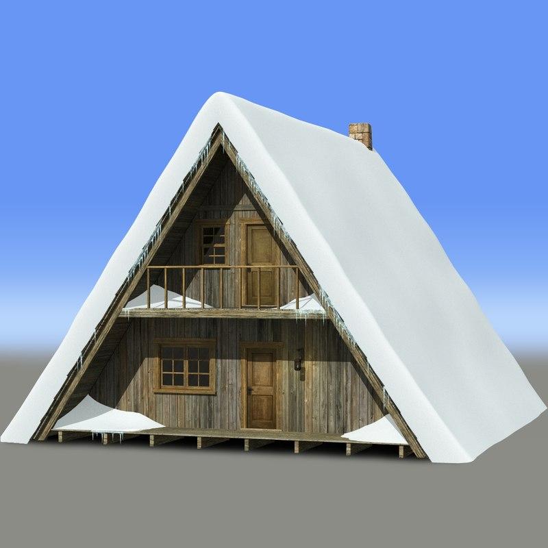 a-frame chalet snow ice 3d model