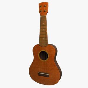 ukulele 4 strings 3d model