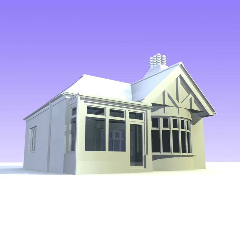 3d british detached houses unit model