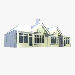 british semi detached houses 3d model
