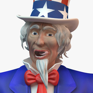 rigged character uncle sam 3d max