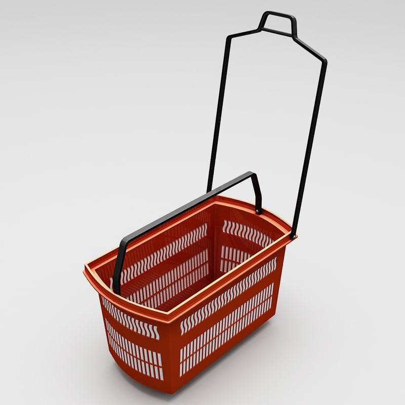 3d model supermarket shopping basket v2