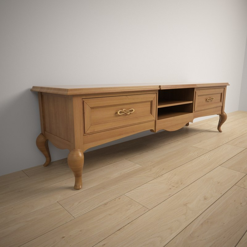 wood tv stand giorgio 3d model