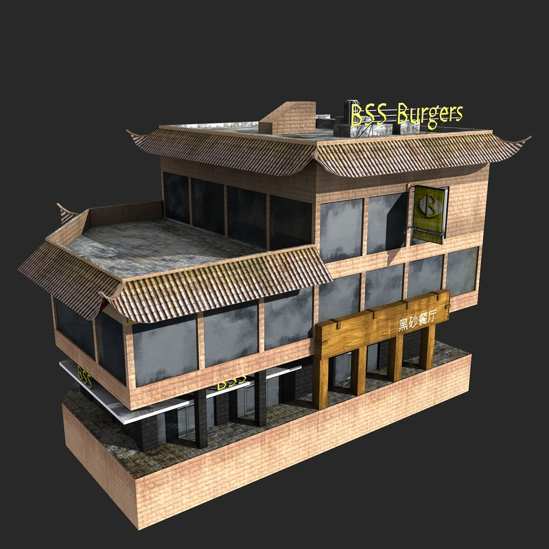 fast-food restaurant 3d model
