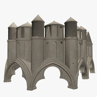 cathedral statues umbrella 3ds