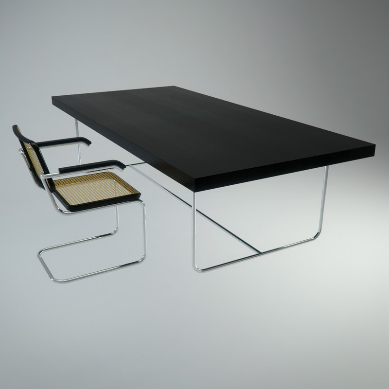 3d photorealistic cesca chair table