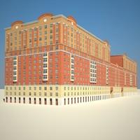 long red brick building 3d model