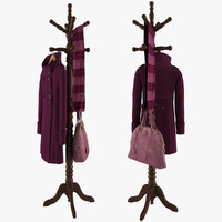 Rack With Coat On Hanger, Bag and Scarf