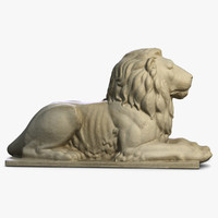 3ds max stone lion sculpture 2