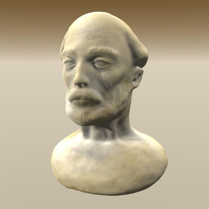 bearded man bust 3d model
